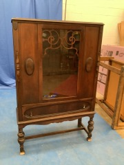 VINTAGE CABINET ON LEGS W\/ GLASS DOOR AND DRAWER