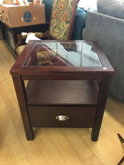 End table with glass inset