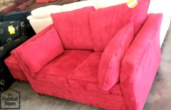 red suede loveseat with Ottoman