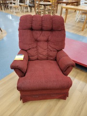 RED UPHOLSTERED ROCKING CHAIR