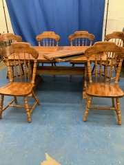 HEAVY PINE TRESTLE TABLE W\/ 6 MATCHING CHAIRS